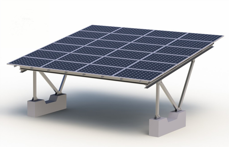 Ground solar mounting structure with Concrete foundation